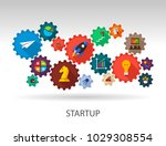 startup flat icon concept.... | Shutterstock .eps vector #1029308554
