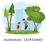 father with his little son...   Shutterstock .eps vector #1029310660