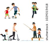 dad and son play  fish  chase...   Shutterstock .eps vector #1029315418