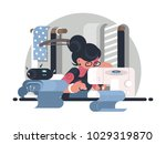 girl seamstress in workplace.... | Shutterstock .eps vector #1029319870