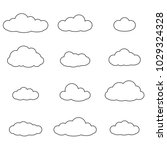 cloud outline set. cloud line... | Shutterstock . vector #1029324328