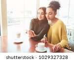 two cheerful and beautiful... | Shutterstock . vector #1029327328