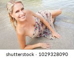 beautiful mature blond tourist... | Shutterstock . vector #1029328090