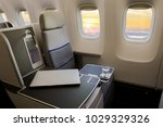 airplane seat and window   Shutterstock . vector #1029329326