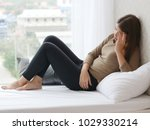 young asian woman in pain with... | Shutterstock . vector #1029330214