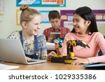 two female pupils in science... | Shutterstock . vector #1029335386