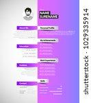 creative simple cv template... | Shutterstock .eps vector #1029335914