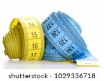 yellow and blue rolled... | Shutterstock . vector #1029336718