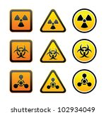 set hazard warning radioactive... | Shutterstock .eps vector #102934049