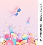 various junk food in paper art... | Shutterstock .eps vector #1029341716