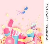 various junk food in paper art... | Shutterstock .eps vector #1029341719