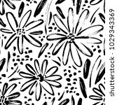 Stock vector vector seamless pattern of ink drawing wild plants herbs and flowers monochrome botanical 1029343369