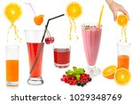 set of fresh fruits and glasses ... | Shutterstock . vector #1029348769