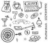 hand drawn doodle set of casino ... | Shutterstock .eps vector #1029349990