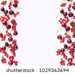red fruits and berrieson white... | Shutterstock . vector #1029363694