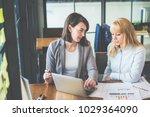 two businesswoman working...   Shutterstock . vector #1029364090