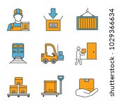 cargo shipping color icons set. ... | Shutterstock .eps vector #1029366634