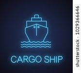 cargo ship neon light icon.... | Shutterstock .eps vector #1029366646