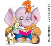 Stock photo illustration a funny cartoon an elephant reads a book to his little friends a hare a hedgehog 1029373519