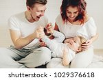 happy family and daughter... | Shutterstock . vector #1029376618