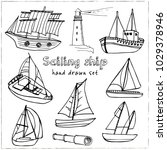 sailing ship hand drawn doodle... | Shutterstock .eps vector #1029378946