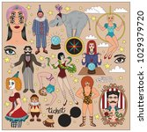 vintage circus illustrations... | Shutterstock .eps vector #1029379720