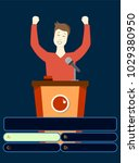 winner. happy man. quiz game... | Shutterstock .eps vector #1029380950