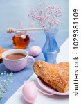 apple turnovers served with tea ...   Shutterstock . vector #1029381109
