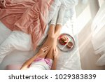 young woman and tray with tasty ... | Shutterstock . vector #1029383839