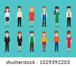 set of woman and man character. ... | Shutterstock .eps vector #1029392203