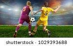 soccer ball on the field of... | Shutterstock . vector #1029393688