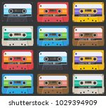 pattern of compact cassettes on ... | Shutterstock .eps vector #1029394909