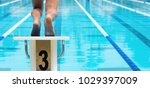 the swimmer jumps from the... | Shutterstock . vector #1029397009