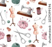 seamless sewing pattern. sewing ... | Shutterstock . vector #1029399196