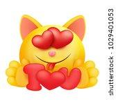 yellow emoji cartoon cat...   Shutterstock .eps vector #1029401053