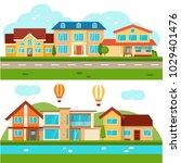 vector suburban cottage private ... | Shutterstock .eps vector #1029401476