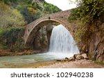 palaiokarya bridge and... | Shutterstock . vector #102940238