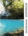 blue lake in abkhazia  which is ...   Shutterstock . vector #1029406120