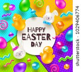 easter greeting card. colorful... | Shutterstock .eps vector #1029406774