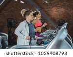 sporty and overweight women... | Shutterstock . vector #1029408793