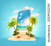 wonderful tropical landscape... | Shutterstock . vector #1029410254