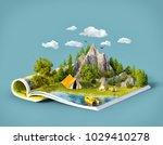 mountain in forest  green... | Shutterstock . vector #1029410278