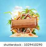 wooden helm with a blank wooden ... | Shutterstock . vector #1029410290