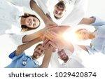 bottom view.a team of doctors... | Shutterstock . vector #1029420874