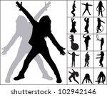 silhouettes of little girl in... | Shutterstock .eps vector #102942146