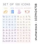 set of 100 minimal universal... | Shutterstock .eps vector #1029424708