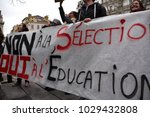 Small photo of Marseille, France - February 15, 2018 : Protesters during a demonstration against the French government's proposed reform of university applications and a project to reform the French baccalaureate hi