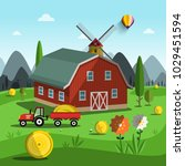 farm. vector cartoon with... | Shutterstock .eps vector #1029451594