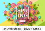 Stock vector spring sale flyer template with paper cut flowers and leaves with frame bright colorful geometric 1029452566