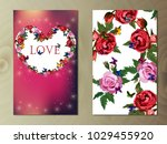 valentines day heart with rose... | Shutterstock .eps vector #1029455920